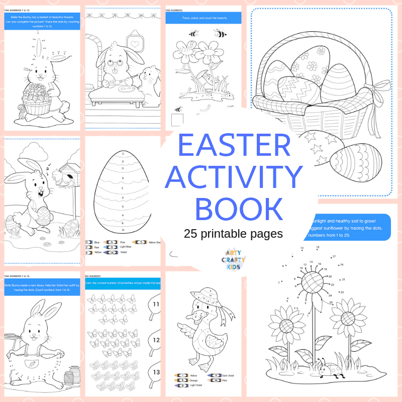 Arty Crafty Kids | The Easter Colouring and Activity Book. This 25 page NO-PREP Easter Activity Booklet will have your Arty Crafty Kids colouring, counting and practising their tracing skills.