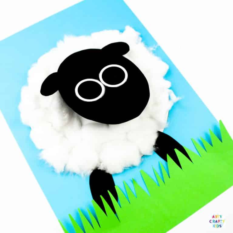Arty Crafty Kids | 3D Spring Lamb Craft for Kids to make. A fun, playful craft idea for Easter and Spring. Simply download the lamb template to get started! #artycraftykids