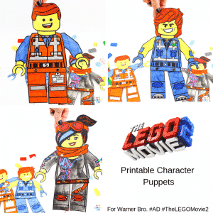 Arty Crafty Kids | Lego Movie Printable Character Puppets - includes FREE Lego Character Puppet templates to print, colour and make! The bundle includes Emmet, Rex Dangervest, Wyldstyle (Lucy) and a design your own Lego character option. A fun and engaging craft to celebrate the release of The Lego Movie 2 #TheLEGOMovie2 #Sponsored #AD