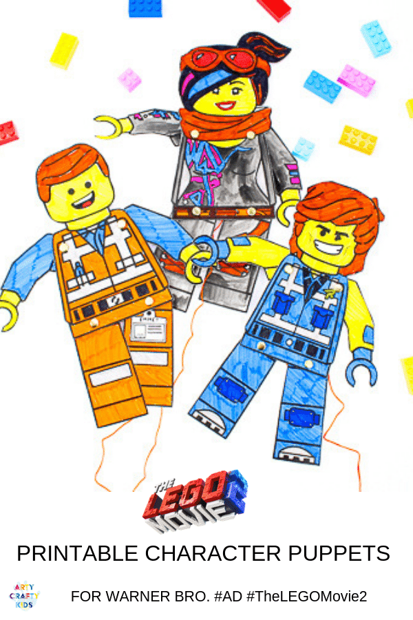 Arty Crafty Kids | Lego Movie Printable Character Puppets.  A fun interactive Lego Craft for kids - just in time for the second instalment of The Lego Movie. Download and print our free Lego puppet bundle to create your favourite character. Kids can even have a go at designing their own or recreating another from the Lego Movie 2 #ad #TheLEGOMovie2