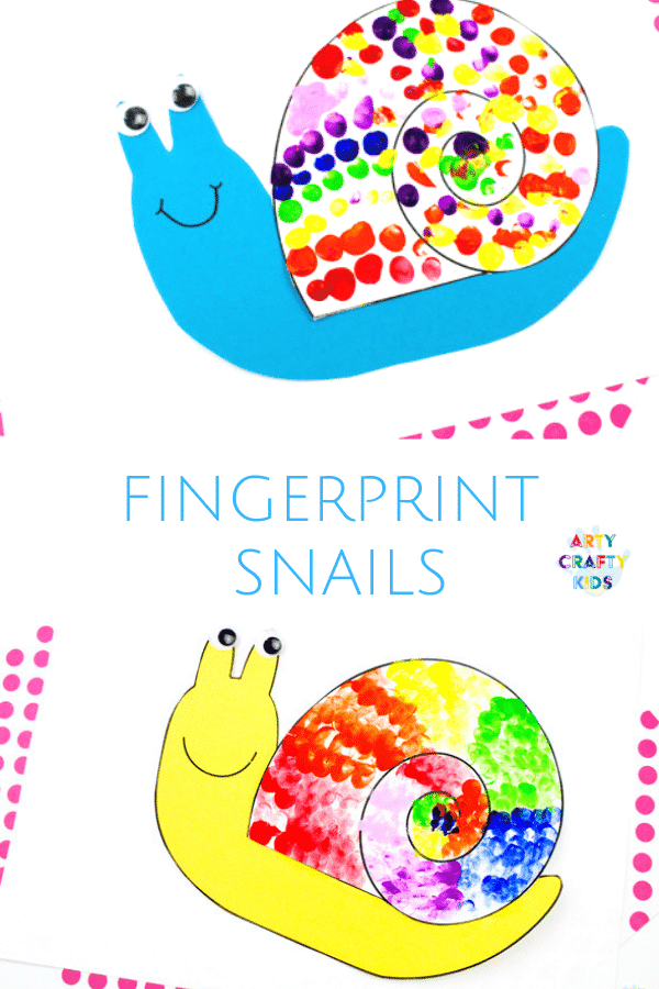 Arty Crafty Kids | Minibeast Fingerprint Snail Craft for kids to make. A simple bug craft for kids with a printable snail template @artycraftykids