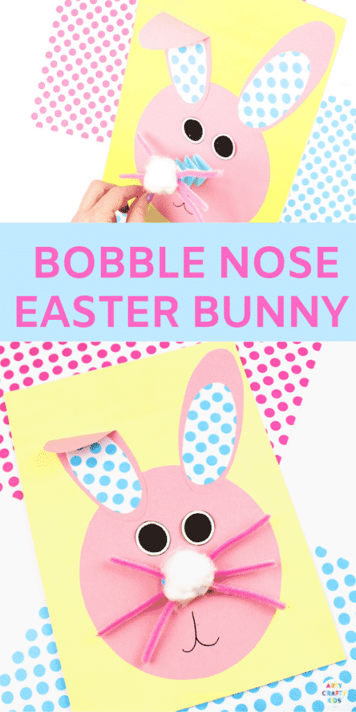 Arty Crafty Kids | Bobble Nose Paper Easter Bunny Craft for kids to make. A sweet and simple Bunny Spring or Easter Craft for Kids with a printable bunny template @artycraftykids