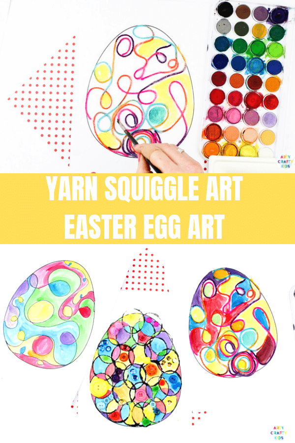 Arty Crafty Kids | Yarn Squiggle Art Easter Egg Activity for kids, with an Easter Egg Template to download and print. #artycraftykids #eastercrafts