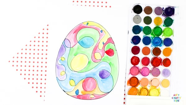 Arty Crafty Kids | Squiggle Line Art Easter Egg Activity for kids, with an Easter Egg Template to download and print. #artycraftykids #eastercrafts