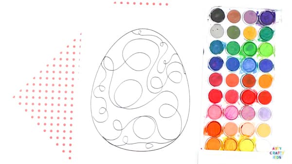 Arty Crafty Kids | Squiggle Line Art Easter Egg Activity for kids, with an Easter Egg Template to download. #artycraftykids #eastercrafts