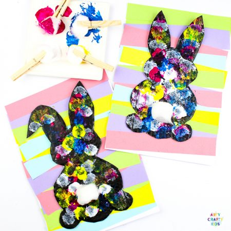 Arty Crafty Kids | Silhouette Easter Bunny Art for Kids! A fun and engaging Easter themed art and craft idea with printable Easter Bunny Templates #eastercrafts #easter @artycraftykids