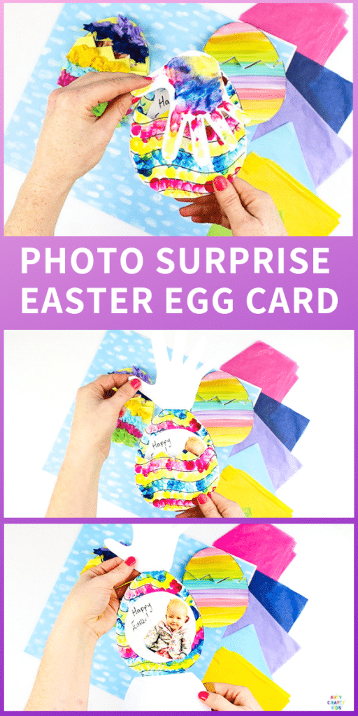 Arty Crafty Kids | Make a special Photo Surprise Easter Egg Card this Easter with the kids! Open the Easter Egg flaps to reveal a child's image, adding a personal touch to this kid-made card idea.