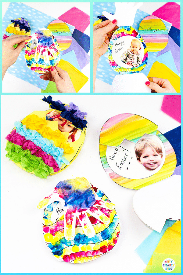 Arty Crafty Kids | A simple and cute Easter Egg card for kids to make. This Photo Surprise Easter Egg comes with printable Easter Egg templates can be adapted to suit toddlers, preschoolers, EYFS and beyond.