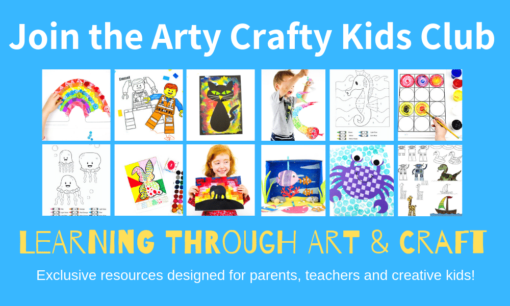Join the Arty Crafty Kids members area for exclusive printable art and craft templates, printable activity books, colouring pages and educational resources.