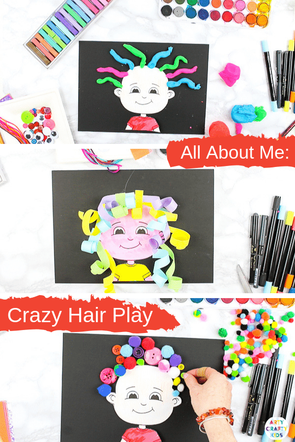 All About Me Crazy Hair Play - A fun printable template for encouraging preschoolers to play with loose parts and play dough to create crazy hair!