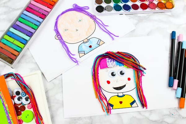 Self portraits for kids! Use the empty printable template to draw a 'selfie'. A fun Art Idea for kids that perfectly open-ended for engaging creativity. The Self Portrait Template is part of the All About Me Book.