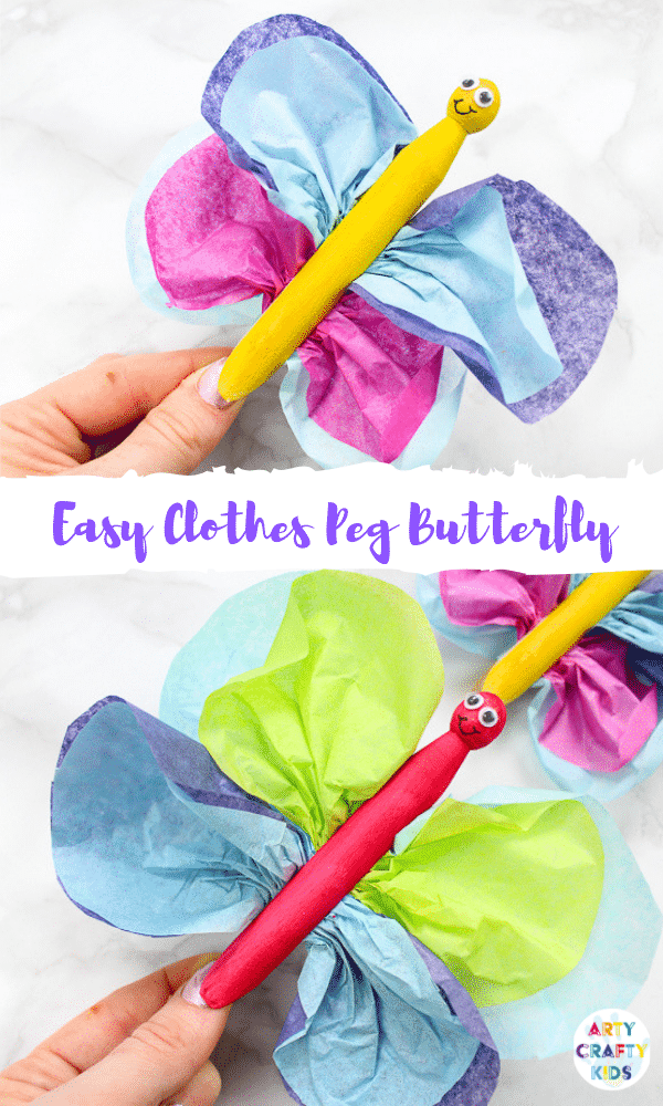 Arty Crafty Kids | Easy Butterfly Clothespin Craft for Kids to Make | A simple Spring craft for kids that perfect for preschoolers and kids in kindergarten to make themselves.
