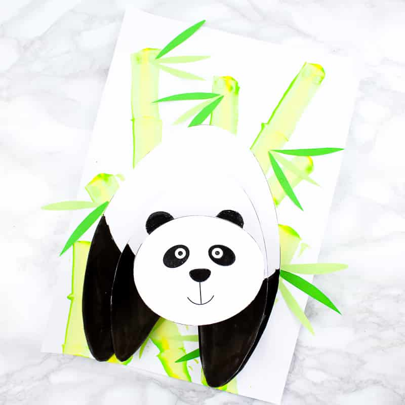 Arty Crafty Kids | Paper 3D Panda Craft for Kids to make, with a printable panda template.