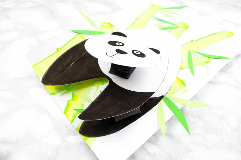 Arty Crafty Kids | 3D Bobble Head Panda Craft for Kids to make. A fun and engaging paper craft for kids with a printable panda template #artycraftykids