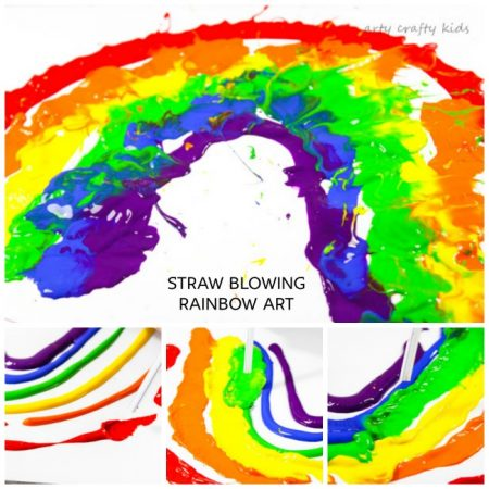 Straw Blowing Rainbow Art