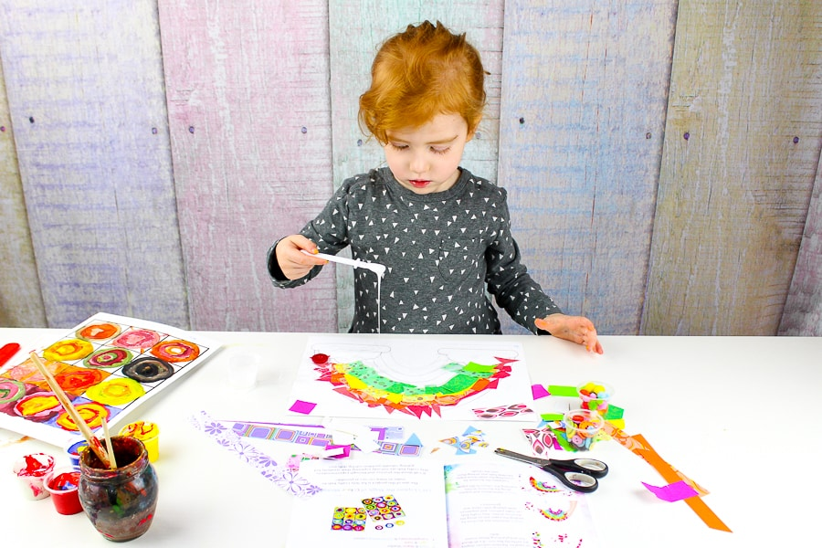 Arty Crafty Kids | Paper Rainbow Craft for Preschoolers to make. A simple activity that promotes fine motor skills, cutting skills and teaching colours.