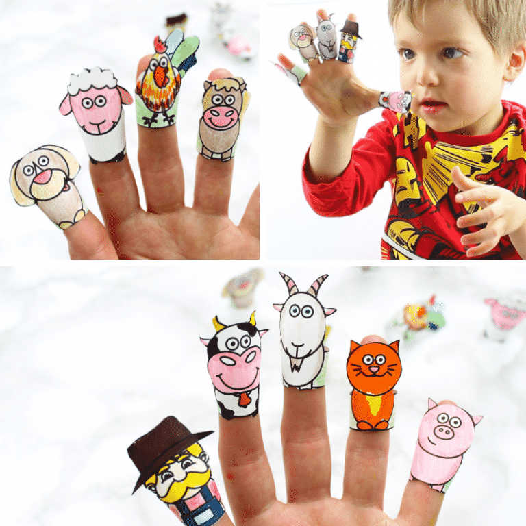 Cute, fun and engaging farm animal craft for kids. Enhance your kids' love of animal play with this super cute collection of Printable Farm Animal Finger Puppets #farmanimals #kidscraft #craftsforkids