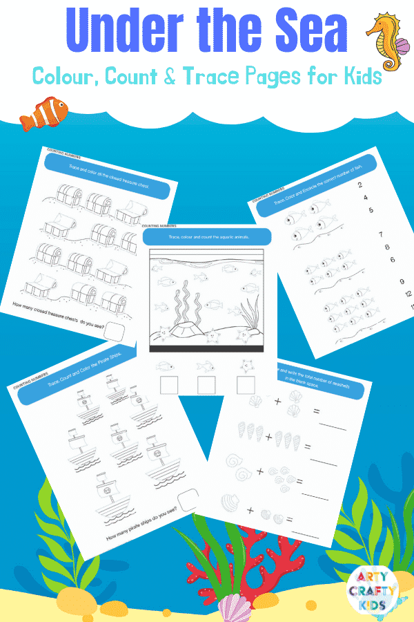Ocean Coloring Book - Color, count and trace printable pages for kids. Great for counting, simple addition and line work.