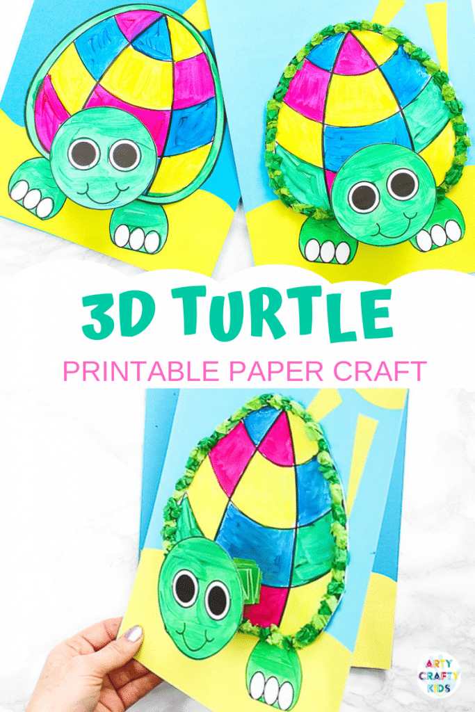 Printable 3d Turtle Paper Craft For Kids Arty Crafty Kids