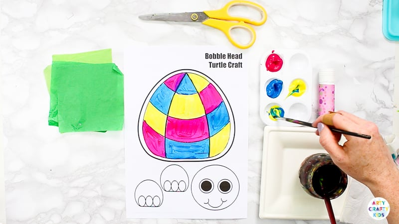 Download the bobble head turtle template from the Arty Crafty Kids members area! Join to access our complete library of under the sea art and craft templates.