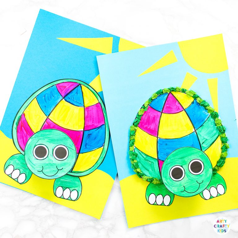 Easy 3D Paper Turtle Craft for Kids to Make