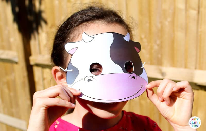 Printable Farm Animal Masks for Kids - Cow Mask for Kids - Animal Craft for Kids