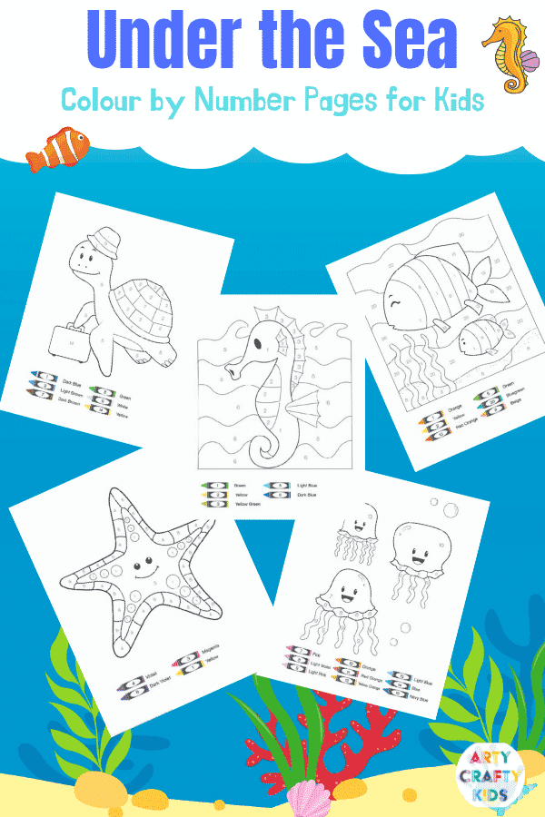 Ocean Color by Number Pages for Kids. Have fun learning numbers while coloring.