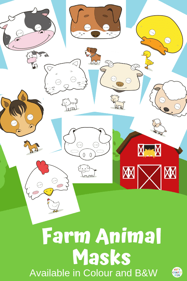 graphic regarding Animal Printable titled Printable Farm Animal Masks for Little ones Arty Cunning Young children