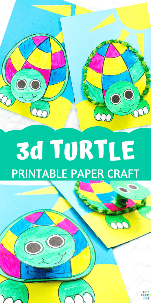 Printable 3D Turtle Paper Craft for Kids - A fun, interactive and easy craft for kids to try this summer, with a handy turtle template to print.