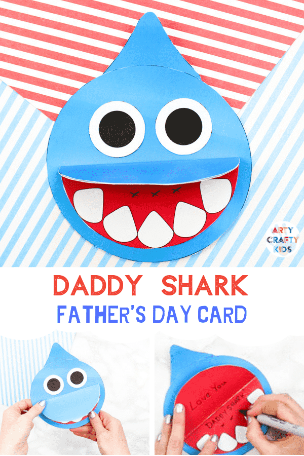 How to make a Shark Father's Day card  -  Inspired by the  Baby Shark Song! A super cute printable shark craft that's perfect for shark week and an 'ocean animal' themed topic at school. #sharkweek #fathersdaycard #craftsforkids #underthesea