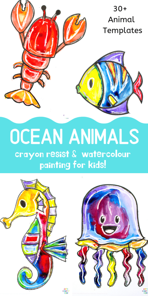 graphic regarding Printable Ocean Animals referred to as Ocean Animal Watercolor Portray for Small children Arty Cunning Young children