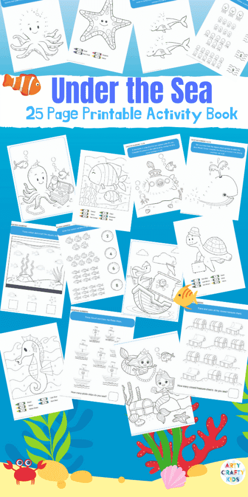 Ocean Coloring Book for Kids - a 25 page No-Prep under the sea themed coloring book for kids, that also introduces counting, number recognition and tracing skills.