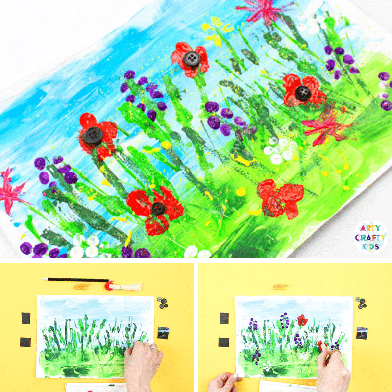 Arty Crafty Kids | Spring Meadow Paint for Kids - Create a beautiful Spring flower meadow without using a paintbrush! A creative art project for kids. #artycraftykids #Spring