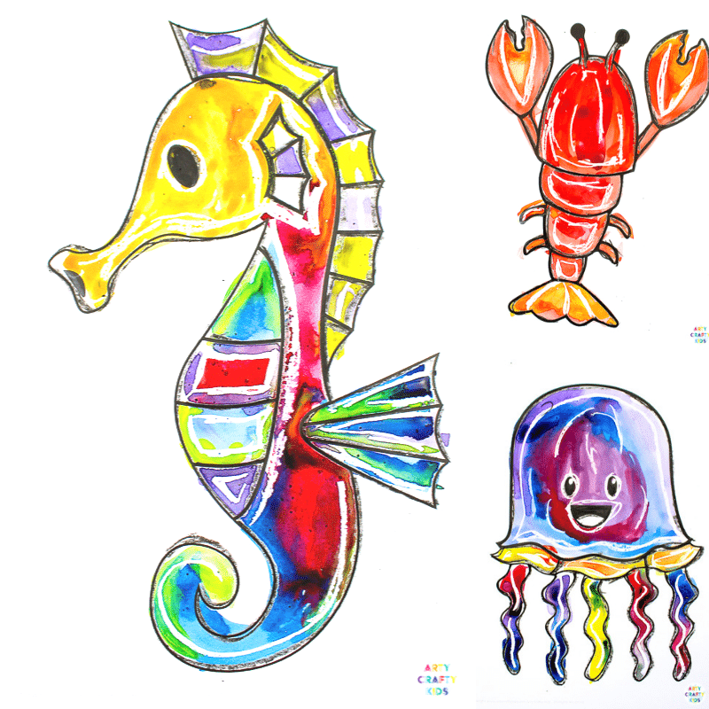 Ocean Animal Watercolor Painting for Kids - An Easy Art Project for Kids