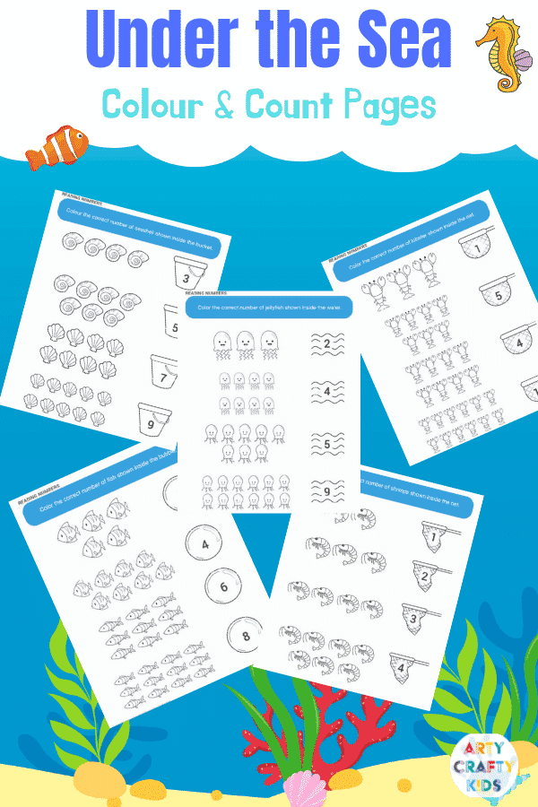 Under the Sea printable activity worksheets - Color and Count Pages for Kids. Simply color the correct number of ocean animals!