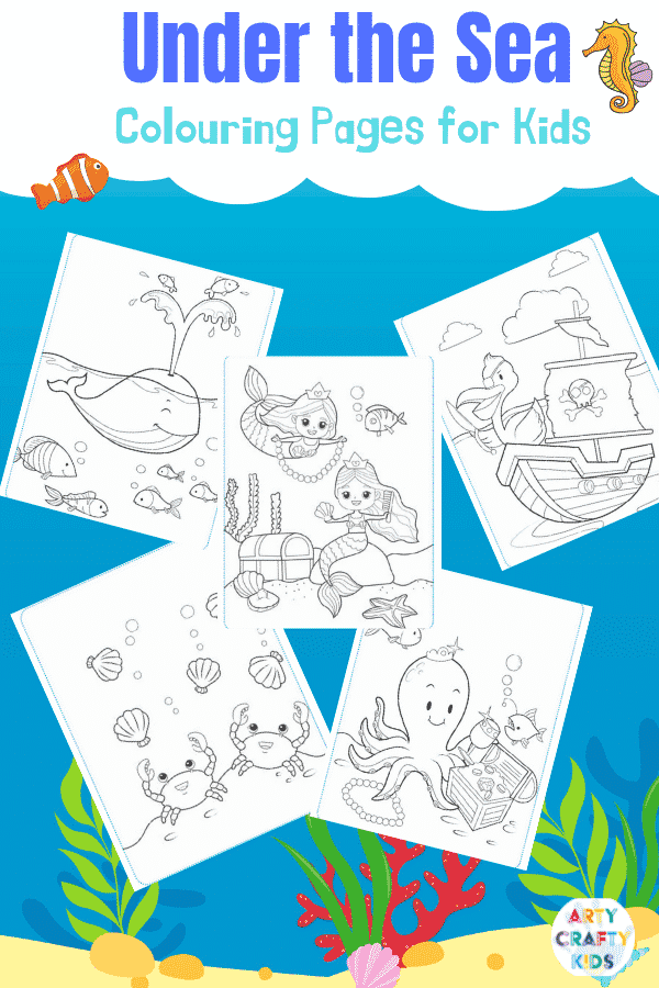 Adorable Under the Sea printable Coloring Pages for Kids.