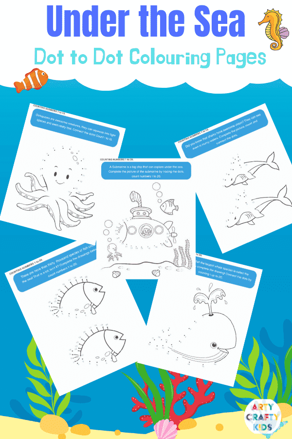 Color and Count with our under the sea dot to dot printable worksheets for kids.