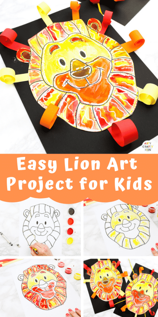 Arty Crafty Kids | Easy Lion Art Project for Kids - A fun and easy art idea for kids to enjoy | Printable lion template available for this easy art project and lion crafts.