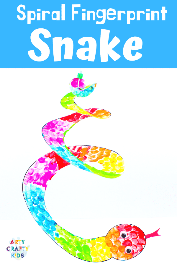 Arty Crafty Kids | Printable Spiral Snake Mobile Craft for Kids | This super cute snake craft is a fantastic scissors skills project for kids in preschool, kindergarten and primary school #artycraftykids