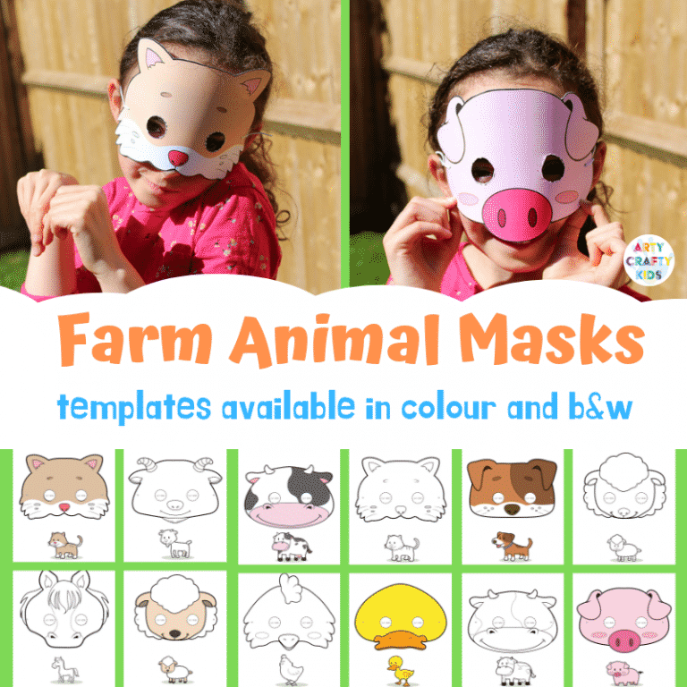 Printable Farm Animal Masks for Kids. Great for role-play and dressing-up.