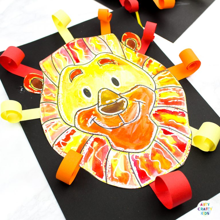 Arty Crafty Kids   Easy Lion Art Project for Kids - A fun and easy art idea for kids to enjoy   Printable lion template available for this easy art project and lion crafts.