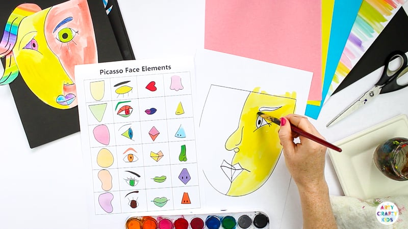 Picasso Faces - Easy Art for Kids. A Picasso art project made easy for kids and teachers, with printable guide for drawing faces and multiple face shapes to complete #artycraftykids #kidsart #artforkids