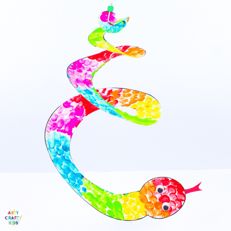 Arty Crafty Kids   Printable Spiral Snake Mobile Craft for Kids   This super cute snake craft is a fantastic scissors skills project for kids in preschool, kindergarten and primary school #artycraftykids