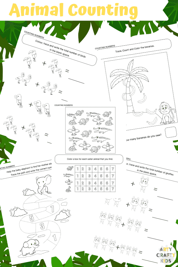 Arty Crafty Kids | 25 Animal Coloring Pages for Kids - Animal counting printable pages for preschool, kindergarten and primary school.