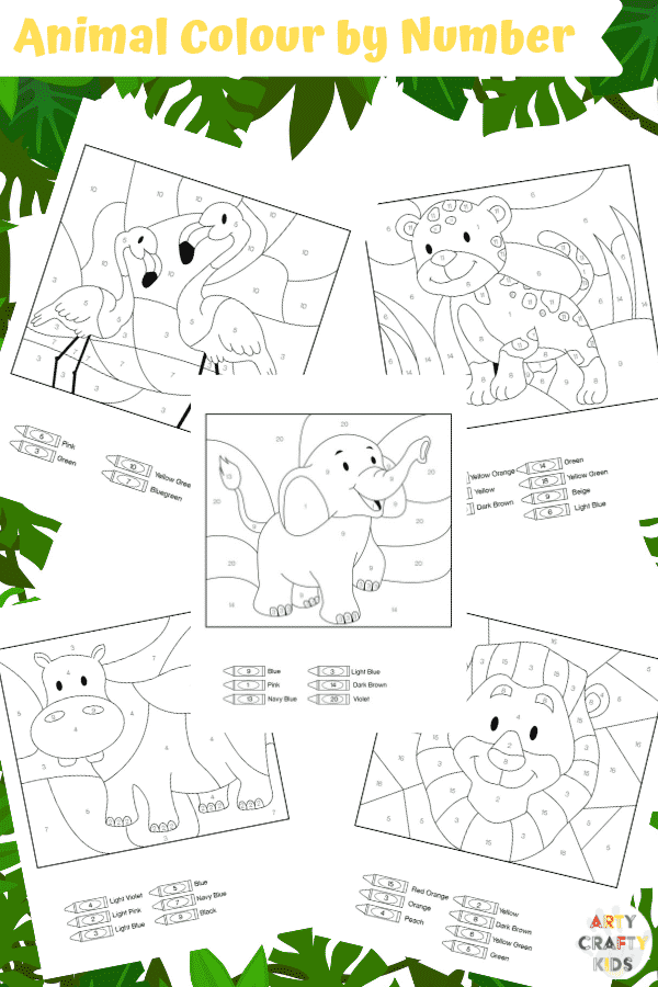 Arty Crafty Kids | 25 Animal Coloring Pages for Kids - Animal color by number printable pages for preschool, kindergarten and primary school.
