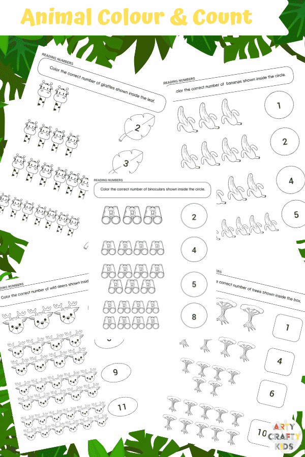 Arty Crafty Kids   25 Animal Coloring Pages for Kids - Animal color and count printable pages for preschool, kindergarten and primary school.