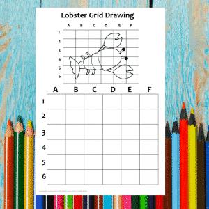 Lobster Grid Drawing