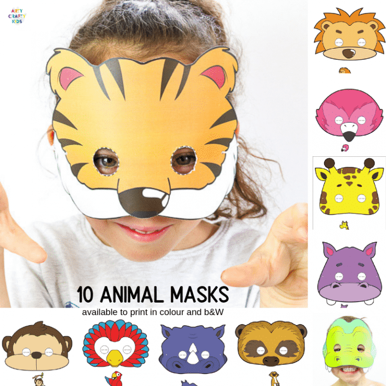 10 Printable Safari Animal Masks for Kids   A super cute collection of animal face masks for kids to colour in and assemble. Great for role-play and an animal themed party! #artycraftykids