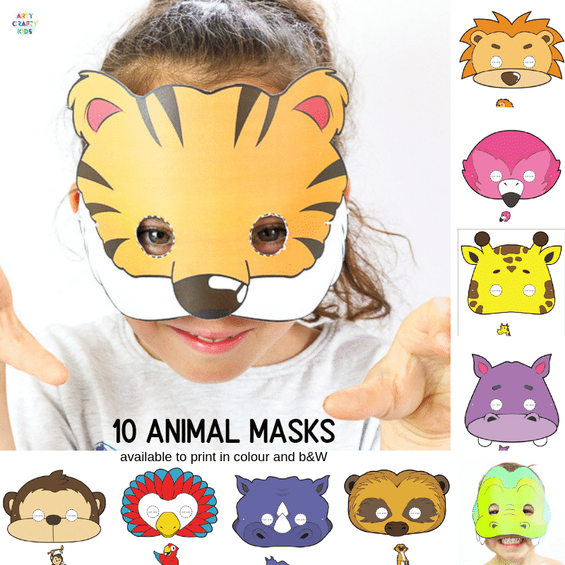 10 Printable Safari Animal Masks for Kids | A super cute collection of animal face masks for kids to colour in and assemble. Great for role-play and an animal themed party! #artycraftykids