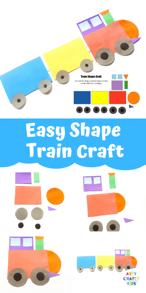 Easy Train Shape Craft for Kids - Make learning shapes fun with this simple train craft for kids. Get started by download the printable train templates #artycraftykids #kidscrafts